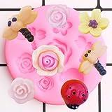 LNOFG 3D Dragonfly Ladybug Silicone Mold Rose Flower Cake Fudge Decorative Resin Candy Chocolate Mold