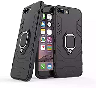 Apple Iphone 7 plus/Iphone 8 plus armor iron man case cover with magnetic holder ring stand black