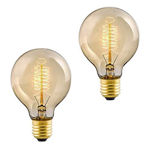 FanciBuy Vintage-Glühbirne, E27, 60 W, Industrielle Retro-Lampe, dekorative Glühbirne, Edison-Glühbirne, G80, Warmweiß, 220 V, 2 Stück