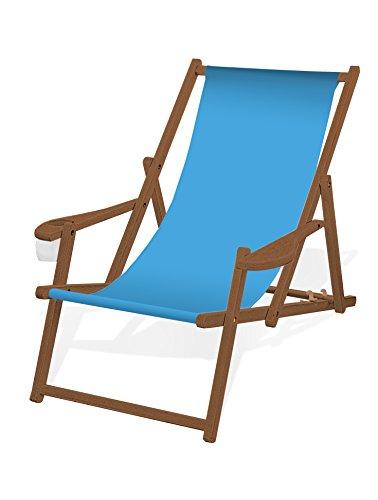 Holz-Liegestuhl mit Armlehne und Getränkehalter, Klappbar, mit dunkelbrauner Lasur, Wechselbezug (Hellblau)
