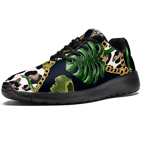 TIZORAX Laufschuhe für Herren, tropische Blätter auf Leopardenmuster, mit Kette, modische Sneaker, Netzstoff, atmungsaktiv, Mehrfarbig - mehrfarbig - Größe: 47 EU