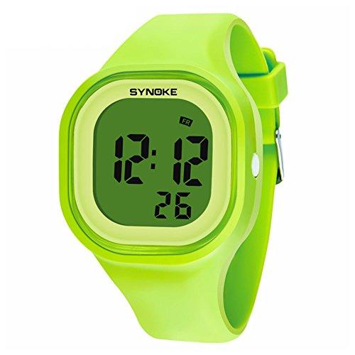 Tookie - Reloj de pulsera digital deportivo de silicona con temporizador LED y alarma, impermeable, luminoso, verde