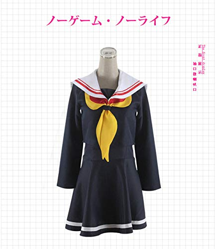 WSJDE No Game no Life Cosplay Shiro Disfraz Halloween Ropa de Mujer Carnaval Vestido Pelucas Traje de Marinero Uniforme Escolar japonés S Azul Marino