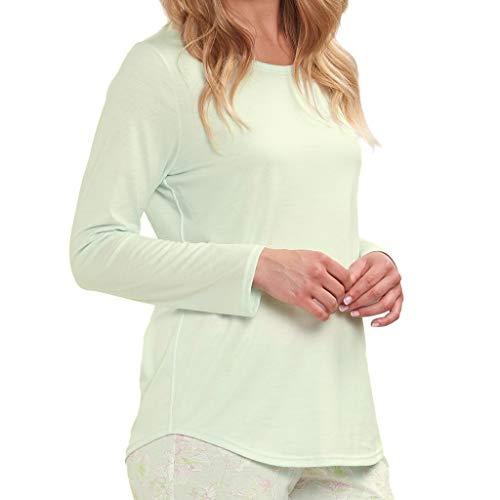 Rösch - Damen Schlafanzug Shirt - Langarm (48 Mellow Green)
