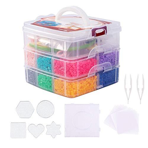 Coriver Kit de Cuentas de fusibles de Agua de 5 mm, 10000 Cuentas de Hierro de 12 Colores con 6 tableros de Clavijas, 2 Pinzas, 6 Papel de Planchar, Cuentas de perler para Hacer Joyas para niños