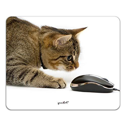 Mauspad mit Katzen-Motiv I 24 x 19 cm I Mousepad in Standard-Größe, rutschfest I für Mädchen Teenager Frauen I Katze Maus I dv_397