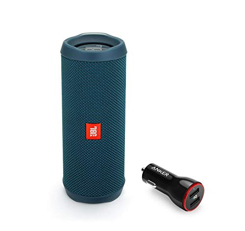 JBL Flip 4 Portable Bluetooth Wireless Speaker Bundle with Anker PowerDrive 2 2-Port USB Car Charger - Ocean Blue