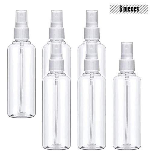 Flacon Vaporisateur Vide, Flacons de Voyage - Kit de Petite Bouteille Plastique pour Liquides Transparent - pour la Maison - Brume Fine (6pcs/100 ML)