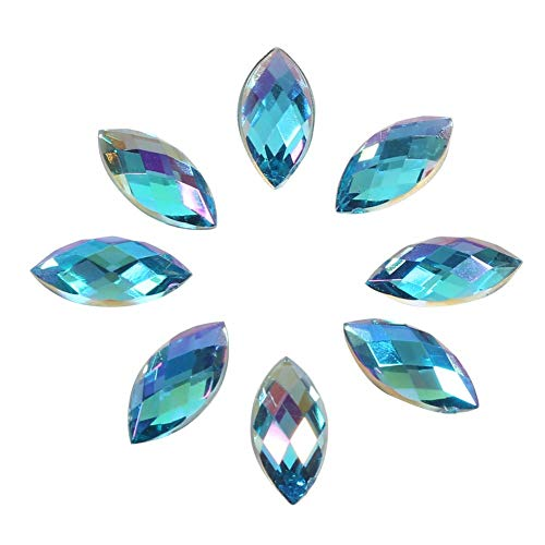 Fydun Diamantes de imitación de Cristal de 7 * 15 mm, 500 Piezas x acrílico con Espalda Plana en Forma de Ojo de Caballo decoración para Ropa teléfono Collar decoración (Azul)
