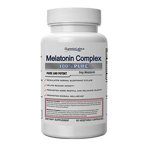 Superior Labs Melatonin Complex - 100% NonGMO Safe from Additives, Stearates, Gluten and Other Allergens – Promotes Restful and Relaxing Sleep, Regulates Sleep Cycles - 60 Vegetable Caps