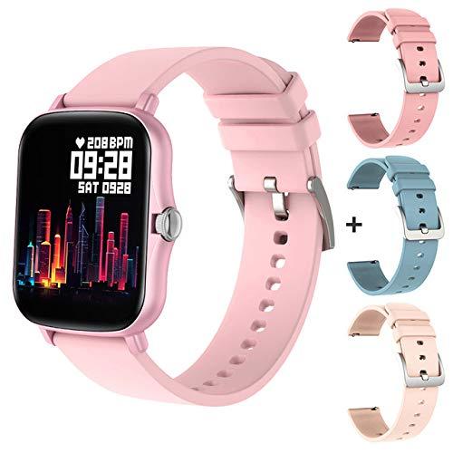 UIEMMY Orologio Intelligente Smart Watch P8 Plus Women 1.69 inch Blood Pressure Tracker Cardiofrequenzimetro IP67 Impermeabile 8 modalità per Android iOS, Rosa con 3 Cinturini