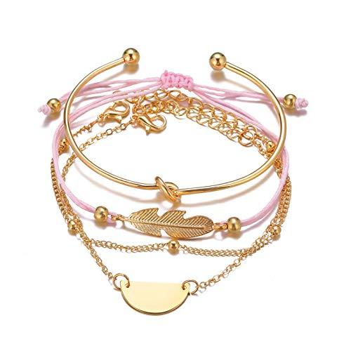 No/Brand Shine SHUNA 4Pcs/Set Creative Multiple Layered Stackable Open Cuff Wrap Bangle Bracelet Jewelry Adjustable for Women Girls