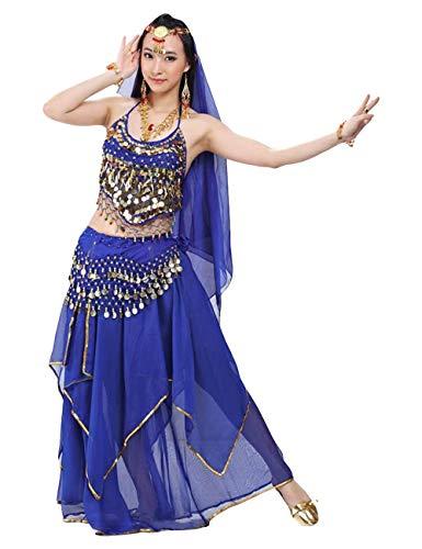 G-like BellyQueen Tanz Kostüm Bauchtanz Kleid - Orientalischer Tanz Arabisch Sexy Professionelle Farbenreiche Kleidung Set Outfit für Tänzerin Damen - Chiffon - 5 Stück (Blau)
