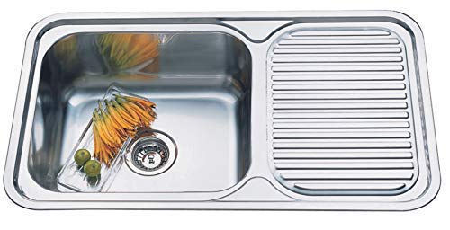Hafele Splash Camelia Kitchen Sink 34 x 20 x 8 Inch Matte Finish Single Bowl with Drainboard Stainless Steel- Ss 304 Grade, Kitchen Accessories/Stainless Steel with Sounpad and Overflow Pipe