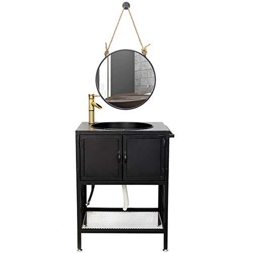 YRRA Mueble Baño Lavabo, Mueble Lavabo Pedestal Mueble Lavabo pie hasta el Suelo Estilo Industrial Hierro Forjado Mueble Lavabo con Grifo y Espejo,Negro,60 x 45 x 80cm