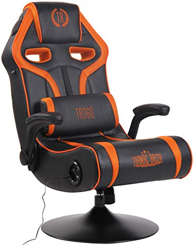 CLP Gaming Soundsessel Sonoma Kunstleder I Sessel Mit 2.1-System Für Gaming Und Musik I Drehsessel Mit Bluetooth, Farbe:schwarz/orange
