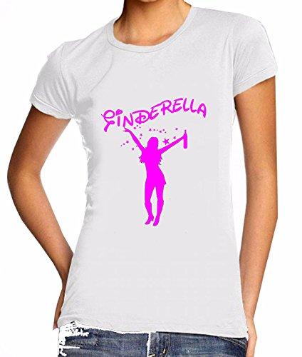 GINDERELLA | Cinderella | TRINKERBELL, Drinkerbell | SPRÜCHESHIRT | Funshirt | Damen Party T Shirt (M, Weiss)