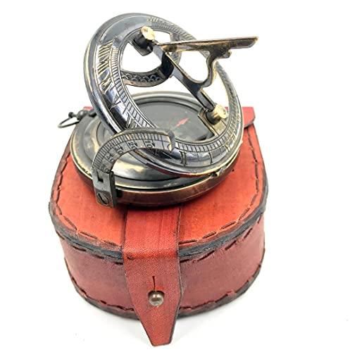 Vimal Nautical Kompass mit Sonnenuhr, Antik-Messing, 7,6 cm, mit schönem Lederetui, Schwarz