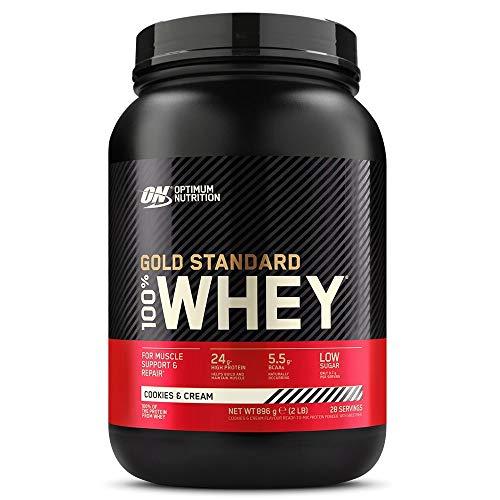 Optimum Nutrition Gold Standard 100% Whey Protéine en Poudre avec Whey Isolate, Proteines Musculation Prise de Masse, Cookies & Cream, 28 Portions, 0.9kg, l'Emballage Peut Varier