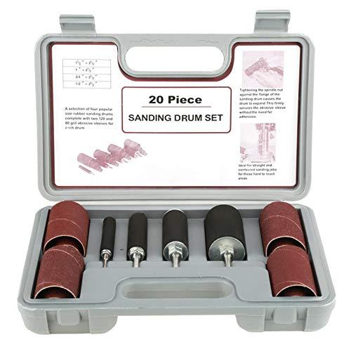 """Kit de tambor de lijado de goma de 20 piezas, herramienta de lijadora de tambor para taladradora, con estuche (1/2"""", 3/4"""", 1"""", 1,5"""")"""