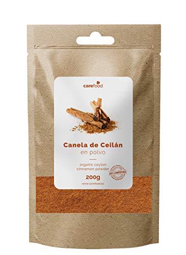 Canela de ceylan en polvo 200gr Carefood 100% ecológica | Cinnamon powder BIO | Canela pura molida BIO | Packaging Biocompostable 100% sin plásticos (200)
