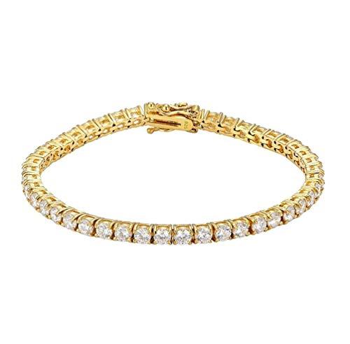 Bracciale Tennis Uomo Donna in Argento 925% con Zirconi Bianchi Taglio Diamante Placcato Oro Giallo 18 cm