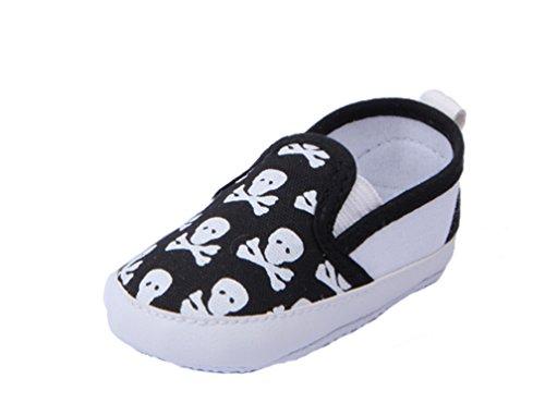 YICHUN Bébé Chaussures de Premier Pas Chaussures de Loisir Chaussures Souple Tête de Mort (Longueur de Semelle :11cm/4.3 pouces, Noir)