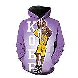 GEZIBABA 3D Hombres NBA Lakers Kobe Bryant Impreso Pullover Cómoda Camiseta Deportiva T-Shirt De Baloncesto -A_L