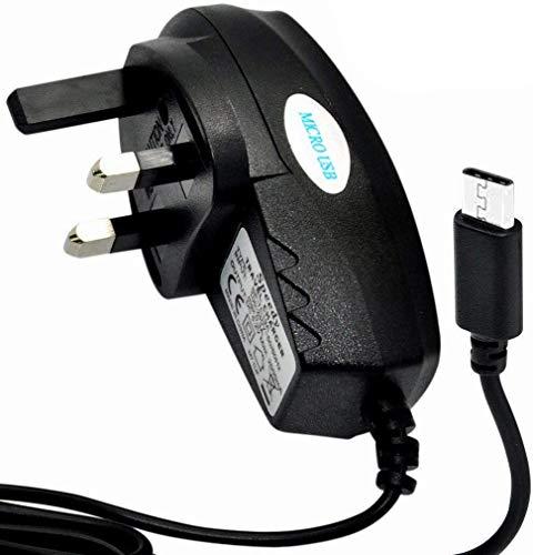 Vivo Y20s Cargador - Micro USB UK 3 pines Adaptador de cargador de red para Vivo Y20s (Micro USB, cargador de corriente) (negro)