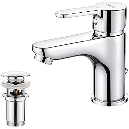GRIFEMA Porto - Bad Wasserhahn mit Ablaufventil, Bidetarmatur, Kugelgelenk-Auslauf, Komforthöhe, Chrom [Exklusiv bei Amazon]