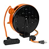 Thonapa 30 Ft Retractable Extension Cord Reel with Breaker Switch and 3 Electrical Power Outlets - 16/3 SJTW Durable Orange Cable - Perfect for Hanging from Your Garage Ceiling