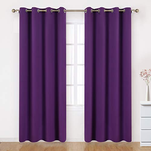 BYSURE Purple Blackout Curtains 52 x 84 Inch Length 2 Panels Purple Purple Room Darkening Curtains for Bedroom Energy Saving Thermal Insulated Drapes Curtains Sets (Purple)