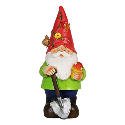 "Exhart Solar Light up Gnome Garden Statue, Solar Powered, Resin, Red Hat, 5"" L x 5"" W x 10"" H"