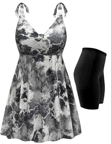 "Plus Size 2-PC Swimsuit Straps Swimdress Smoking Hot Print 15"" Shorts 8X"