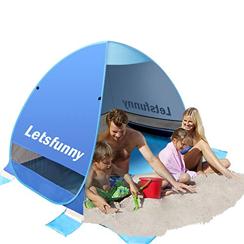 LetsFunny Large Pop up Beach Tent Sun Shade Shelter, UPF 50+ Pop-up 3-4 Person Outdoor Beach Tents Shelter Automatic Portable Sport Sun Umbrella Anti UV Baby Tent,Suitable for Family …