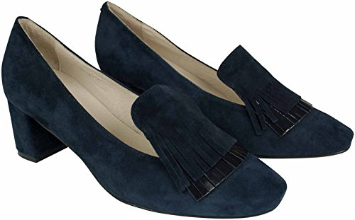 Alva Loafer Pumps aus Veloursleder in Navy Fransen