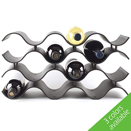 Baridoo Wine Rack. Stackable Countertop Wine Bottle Stand. 12 Bottles Wine Holder Organizer for Table Top, Pantry, Cabinet, Refrigerator. Wine Bar Quality Plastic Lightweight Storage (Black).