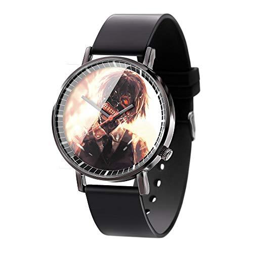 Anime Tokyo Ghoul Serie Armbanduhren 3D Vision Uhren Herren Quarz Analog Armbanduhr mit Kieselgel Armband Anime Serie Unisex Uhr-A5
