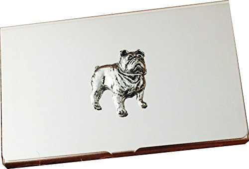 Chrome Business Card and Credit Card Holder Case with Pewter British Bulldog Dog Emblem, Complete with Gift Box