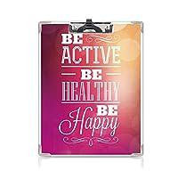 クリップボード フィットネス プレゼントA4 バインダー 活版印刷のデザイン 用箋挟 クロス貼 A4 短辺とじアクティブになる 健康になる