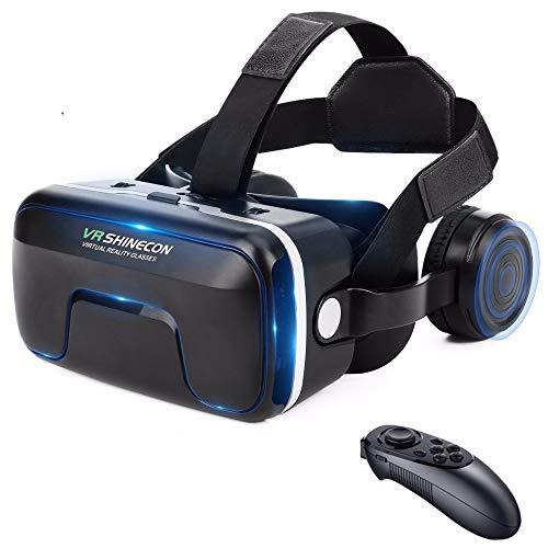 SDYAYFGE 3D Brille VR Brille Virtual Reality VR Headset Handy Mit Bluetooth-Griff Für 3D Filme Videospiele Kompatibel Mit 4.7-6.5 Zoll Smartphones 2021 Neue 12. Generation VR Headset