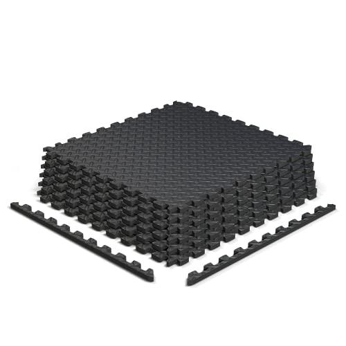 Epic Fitness EVA Foam Interlocking Exercise Gym Floor Mat Tiles, 1/2' Thick 24 Square Feet - Pack of 6 Tiles