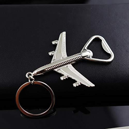 GSGJWJ Schlüsselring Schlüsselbund Flugzeug Flasche Opener Schlüssel Kette Tragbare 4 In 1 Flasche Opener Schlüssel Ring Schlüsselanhänger Metall Bier Bar Tool Klaue Geschenk