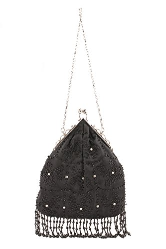 Pochette AC 755 Nero, borsetta in tessuto con ricami in jaiss