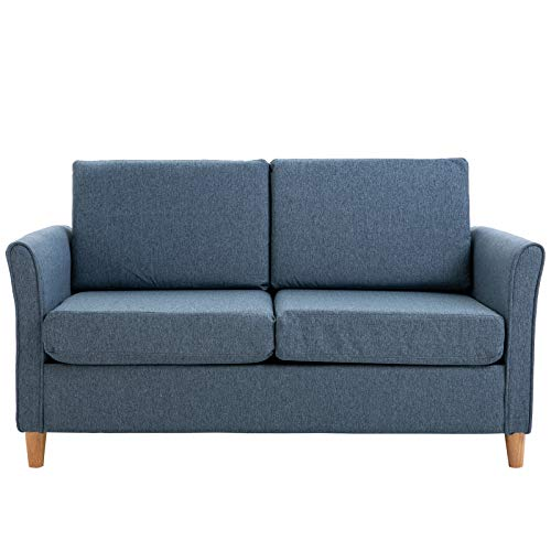 HOMCOM Sofa Double Seat Compact Loveseat Couch Living Room Furniture with Armrest Blue