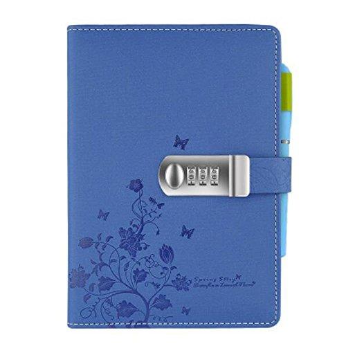 Cuaderno de Viaje Cuero PU,Diario Contraseña Cuaderno de Combinación con candado y contraseña ,NPN99-4,Blue
