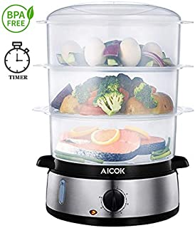 Aicok Food Steamer, 9.5 Quart Vegetable Steamer with BPA-Free 3 Tier Stackable Baskets and Auto Shutoff, 800W Fast Heating Electric Steamer including Egg Holder and Rice Tray, Stainless Steel Base