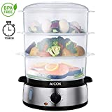 Aicok Food Steamer, 9.5 Quart Vegetable Steamer with BPA-Free 3 Tier Stackable Baskets and...