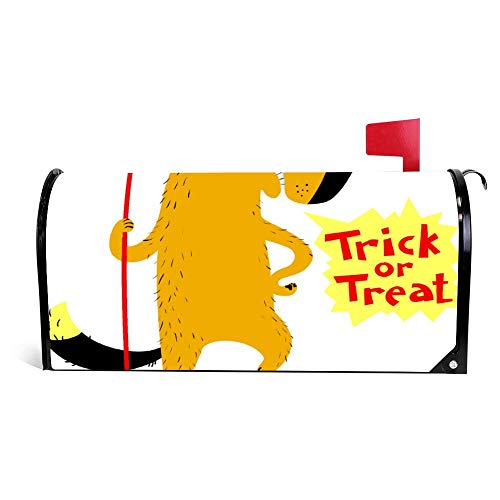 wendana Halloween Hond Karakter In Kostuum Van Duivel Met Mailbox Cover Magnetische Vinyl Thuis Tuin Decor Mailbox Wrap Post Letter Box Cover 18
