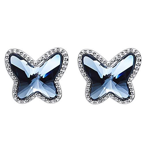 S925 Aretes de plata esterlina Estilo de gama alta Forma de mariposa con pendientes de cristal...